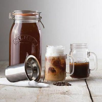 Kilner Cold Brew Coffee Maker 2L Set with Stainless Steel Filter