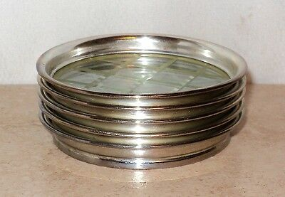 5 Sterling Silver and Glass Drink Coasters Whiting