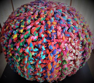 Pouf Ottoman Footstool Handmade Multi Coloured - Price dropped