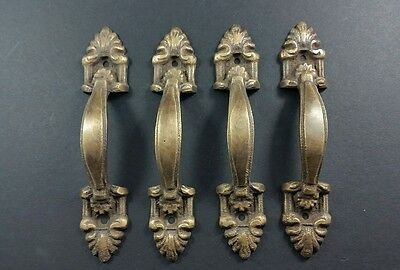 "4 French Ornate Cabinet Drawer Pull Handles  4 3/8"" solid brass #P4"
