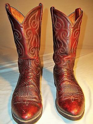 Tony Lama Boots Size 12 Dark Brown Made In Usa In Good Condition Ostrich Vintage