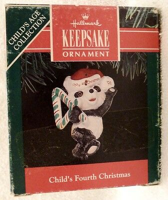 1991 Hallmark Christmas Ornament, Teddy Bear, Child's 4th Christmas