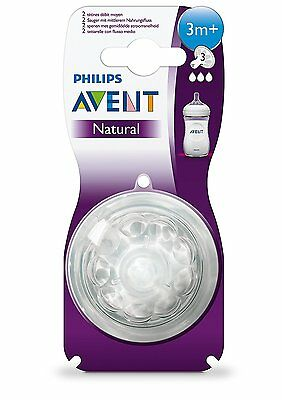 Philips AVENT Natural Teat (Medium Flow) 2pk, (3 months+)