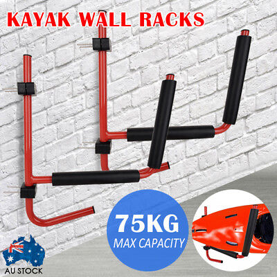 Kayak Canoe Wall Storage Rack Hook Garage Shelf 75kg Capacity FOLDS TO WALL!!