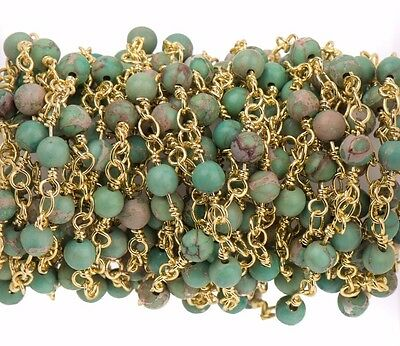 3ft Green AQUA TERRA JASPER Gemstone Rosary Chain bright gold 4mm round fch0725a