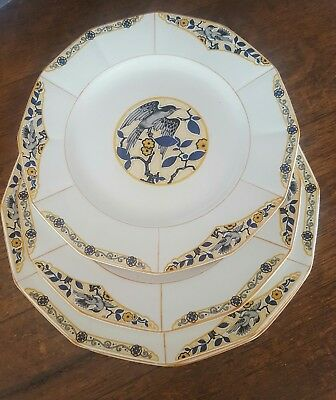 5 Myott Blackbird Dinner Ware Plates 7258 1930's Art Deco