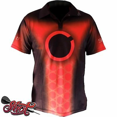 Shot Darts - Player Red Dart Shirt - Lightweight - Breathable - Free Postage