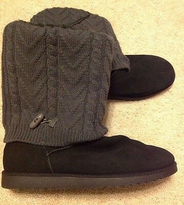 BRAND NEW! Women's Xhilaration Black Suede Grey Sweater Boots Size 11 Mid Calf