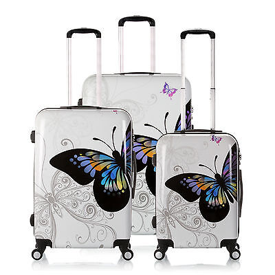 """20""""-28"""" Hard Shell Travel Luggage 4 Wheel Cabin Trolley Suitcase White Butterfly"""