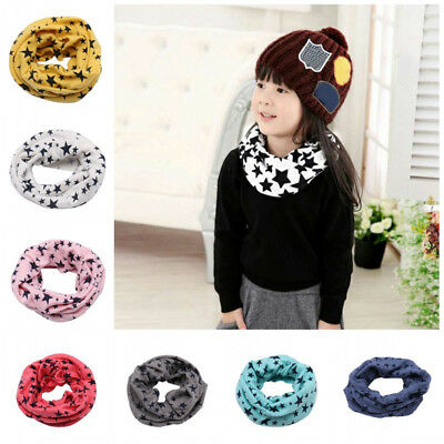 Children Boys Girls Warm Round Collar Neck Scarf Kids Soft Cotton Scarves Wrap