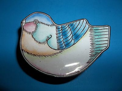 Vintage Chinese Enamel BIRD Trinket Box