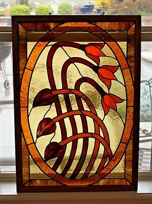 "Beautiful Antique Vtg Arts and Crafts Opal Stained Glass Leaded Window 31"" x 23"""