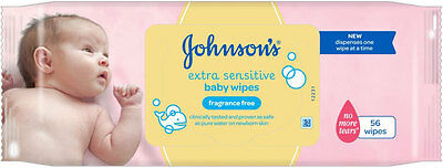 Johnson's Baby Extra Sensitive Fragrance Free Wipes (56) FREE UK DELIVERY