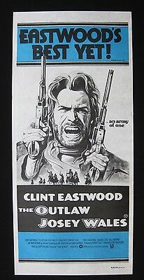 THE OUTLAW JOSEY WALES 1976 Orig Australian daybill movie poster Clint Eastwood