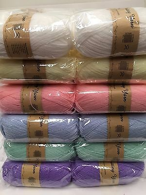 Super soft baby knitting wool 5 x 100g acrylic yarn 8ply bulk buy New pastels