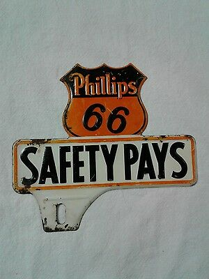 ORIGINAL 1940s Embossed Phillips 66 SAFETY PAYS License Plate Topper