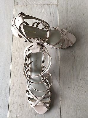 Women's Annapelle 'Trinity'Leather Nude Patent Strappy Shoes Size 9.5  NWT