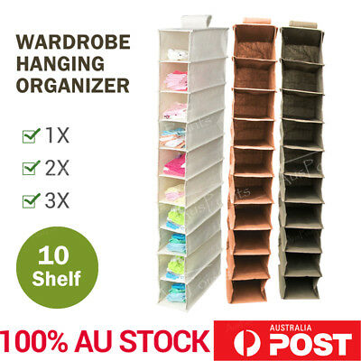 10 Pocket Wardrobe Storage Hanger Hanging Closet Organizer Clothes Shelf Rack