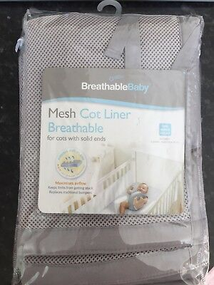 Breathable Baby Mesh Cot Liner Grey