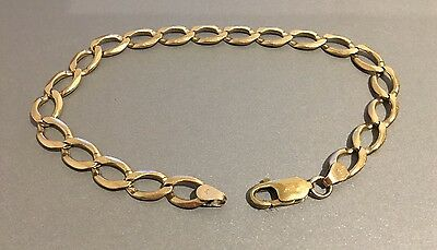 Solid 9ct Mens Yellow Gold Figure 8 Link Bracelet 15grams (25cm long x 8mm wide)