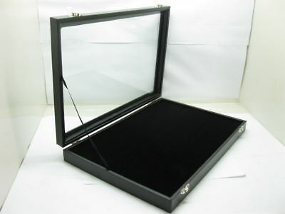 1X New Black Velvet Ring Display Case with Glass Cover