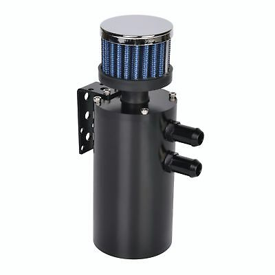 Aluminium Baffled Oil Catch Tank Breather Can w/ Stainless Steel Filter Black