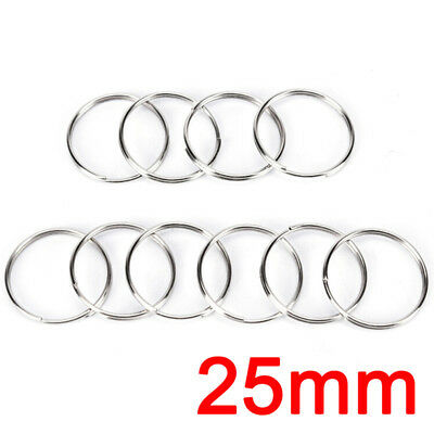 10x Steel Keyring Split Key Rings Nickel Hoop Ring Nickel Plated Steel Loop Chic