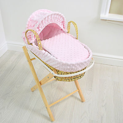 New 4Baby Pink Dimple Girls Natural Palm Toy Dolls Moses Basket With Pine Stand