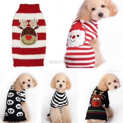 Dog Pet Christmas Sweater Coat Clothes Costumes Puppy Cat Knit Hoodie Apparel