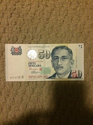 Singapore 50 (Fifty) Dollars Bank Note Arts UNC