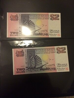 Singapore 2 Dollar Boats Series Notes Consecutive Serial Numbers UNC w/ Red Seal