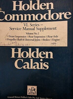 Commodore VL Service Manual Holden Supplement Volume No 2.