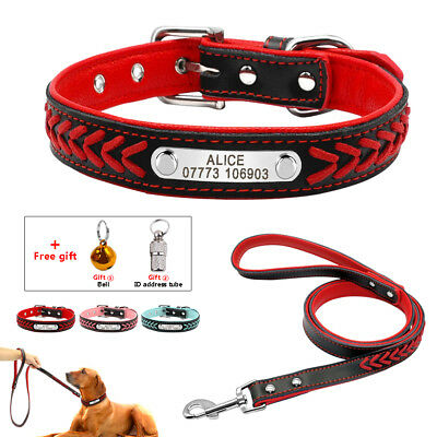 Braided Leather Personalised Pet Dog Collar and Leads Soft Padded for Dogs S M L