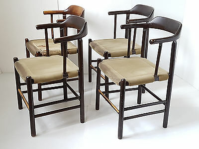 Suite 4 Armchairs Scandinavian 1960 Vintage Wood & Velvet Ras To Be Restored 60S