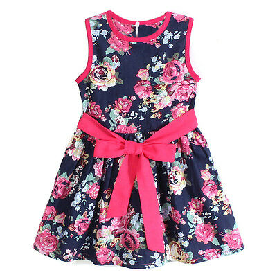 Girls Flower Princess Party Kids Formal Sleeveless Floral Dress BU/120