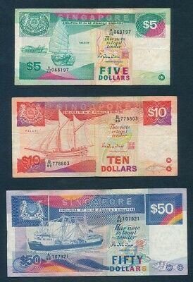 Singapore: 1987-1992 $1 to $50 Ship Series. SET of 6 in nice collectable grade