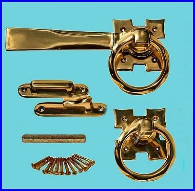 Antique Style Solid Brass Smooth Ring Gate Latch Set