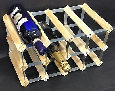 Rammento 12 Bottle Pine Wooden Wine rack FULLY ASSEMBLED Made in the UK