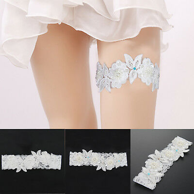Bride Lace Wedding Garter Embroidered Crystal Pearl Flower Beaded Leg Flower