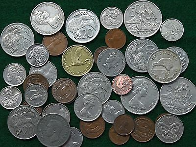 Bulk Lot New Zealand Coins, HMS Endeavor, Maori Mask, Kiwi Bird