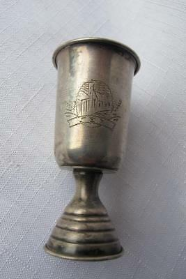 Vintage 833 Silver Jewish Ceremonial Cup w. Etched Buidling & Text - Israeli?