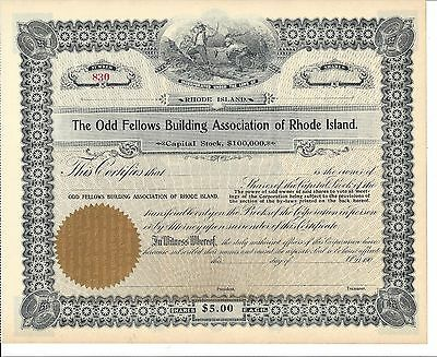 The Odd Fellows Building Association Of Rhode Island..early 1900's Unissued Cert