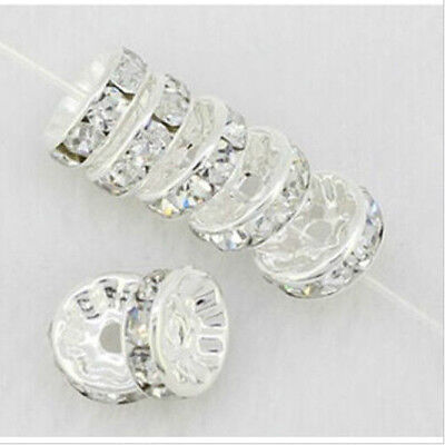 Free Shipping 50Pcs Silver Plated White Crystal Loose Spacer Beads 8mm