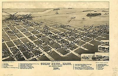 12x18 inch Reprint of American Cities Towns States Map Great Bend Barton Kansas