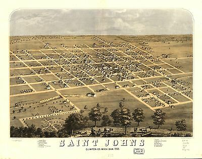 12x18 inch Reprint of American Cities Towns States Map Saint Johns Michigan