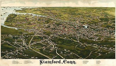 12x18 inch Reprint of Old Maps 1800S Map Stamford Eonn High Detail American Maps
