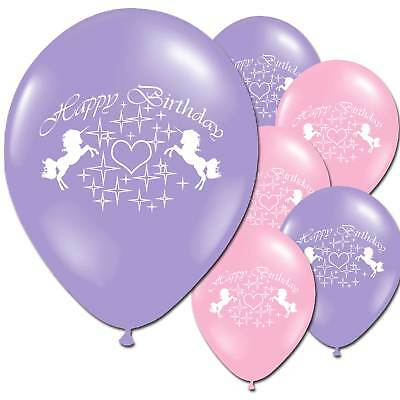 10 Unicorn Lilac Pink Happy Birthday Children's Party Latex Printed Balloons