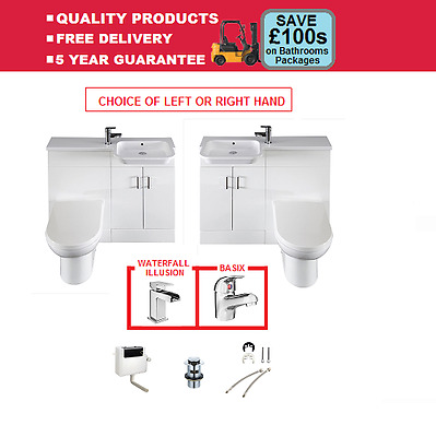 Harlequin Combi Bathroom Suite Left Or Right Hand D-Shaped BTW Pan & Free Tap