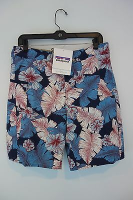 $69 NWT Men's Patagonia Printed Navy Floral Swim Board Shorts Size 32