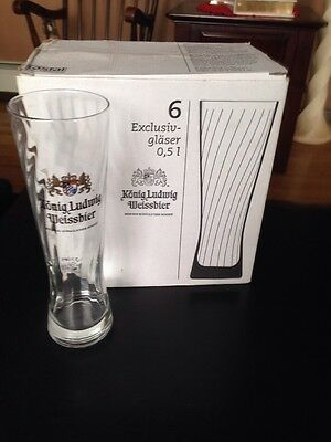 Konig Ludwig Weissbier Beer Glasses Set of 6  0.5 LITER